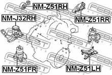 Подушка двигуна права NISSAN ELGRAND (E52) / NISSAN TEANA II (J32) 2007-2014 р.