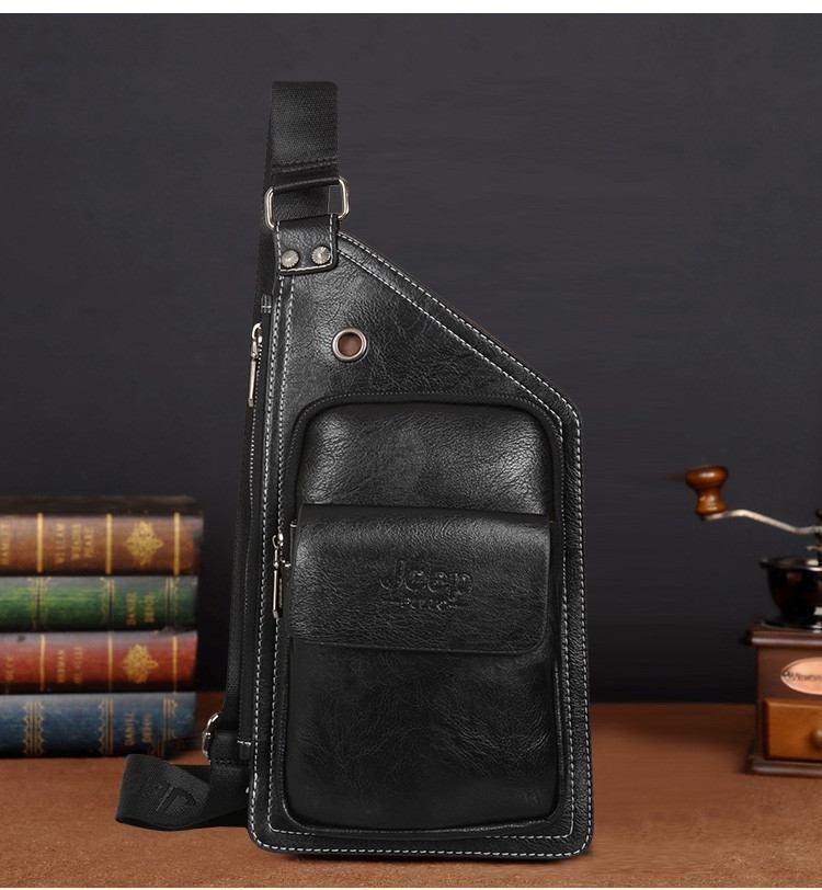 Сумка-рюкзак на одно плечо, кобура, слинг Jeep Buluo. Черная / J 601 black