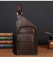 Сумка-рюкзак на одно плечо, кобура, слинг Jeep Buluo. Темно-коричневая / J 603 DB, фото 1