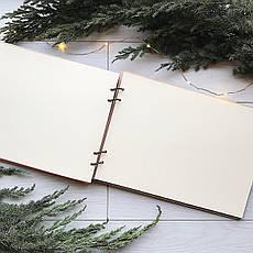 Свадебный альбом из дерева с именами для фотографий и пожеланий ручной работы, фото 2