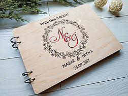 Свадебный альбом из дерева с именами для фотографий и пожеланий ручной работы, фото 3
