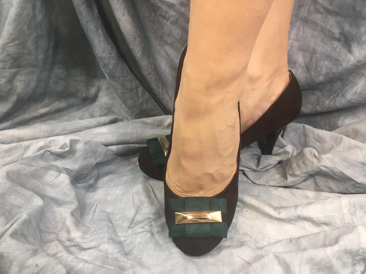 Туфли женские из эко-замша DO6-2 шоколадные с зеленым 35-40