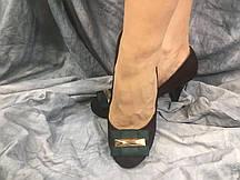 Туфлі жіночі з еко-замша DO6-2 шоколадні з зеленим 35-40