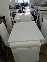 """Розкладний стіл обідній кухонний комплект білий стіл і стільці 3D малюнок 3д """"Без малюнка"""" ДСП скло 60*90 Mobilgen"""