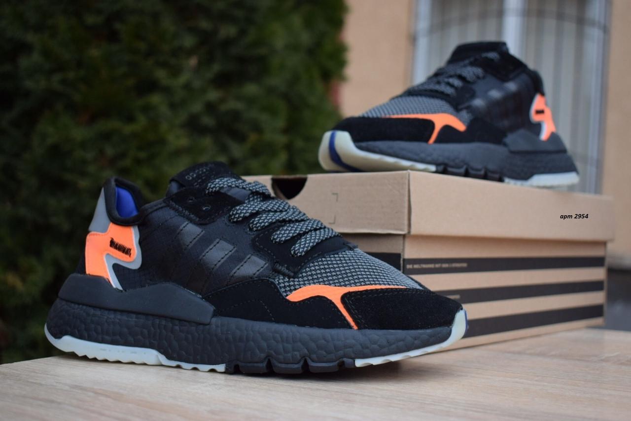 Женские кроссовки Adidas Nite Jogger (черно-оранжевые) 2954