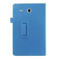 Кожаный чехол книжка для Samsung Galaxy Tab E 9.6 голубой