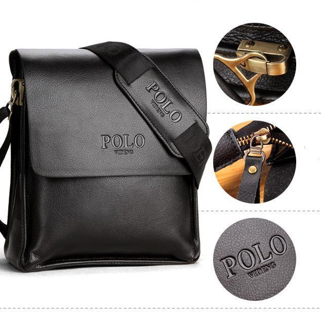Качественная мужская сумка через плечо Polo Videng, поло. Черная. 24x21x7
