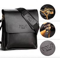 Качественная мужская сумка через плечо Polo Videng, поло. Черная. 24x21x7, фото 1