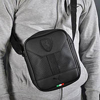 Стильная сумка через плечо, барсетка Puma Ferrari, пума ферари. Черная, фото 1