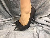 Туфли женские 228 черные с серебром 37-41