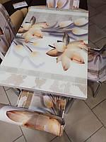 """Розкладний стіл обідній кухонний комплект стіл і стільці 3D малюнок 3д """"Квіти лотос"""" ДСП скло 60*90 Лотос-М"""