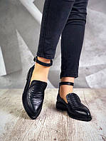 Стильные туфли женские на низком ходу кожаные