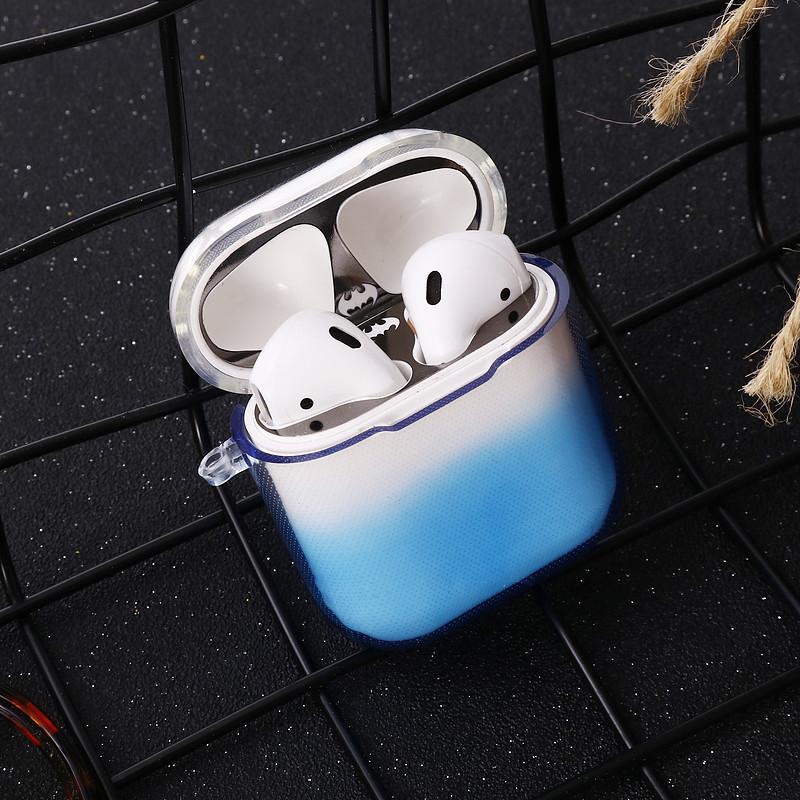 Противоударный чехол - Airpods Apple. Силикон. Прозрачный градиент. Голубой