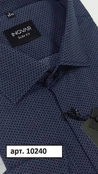 Рубашка мужская сине-фиолетовый хлопковый жаккард  INGVAR