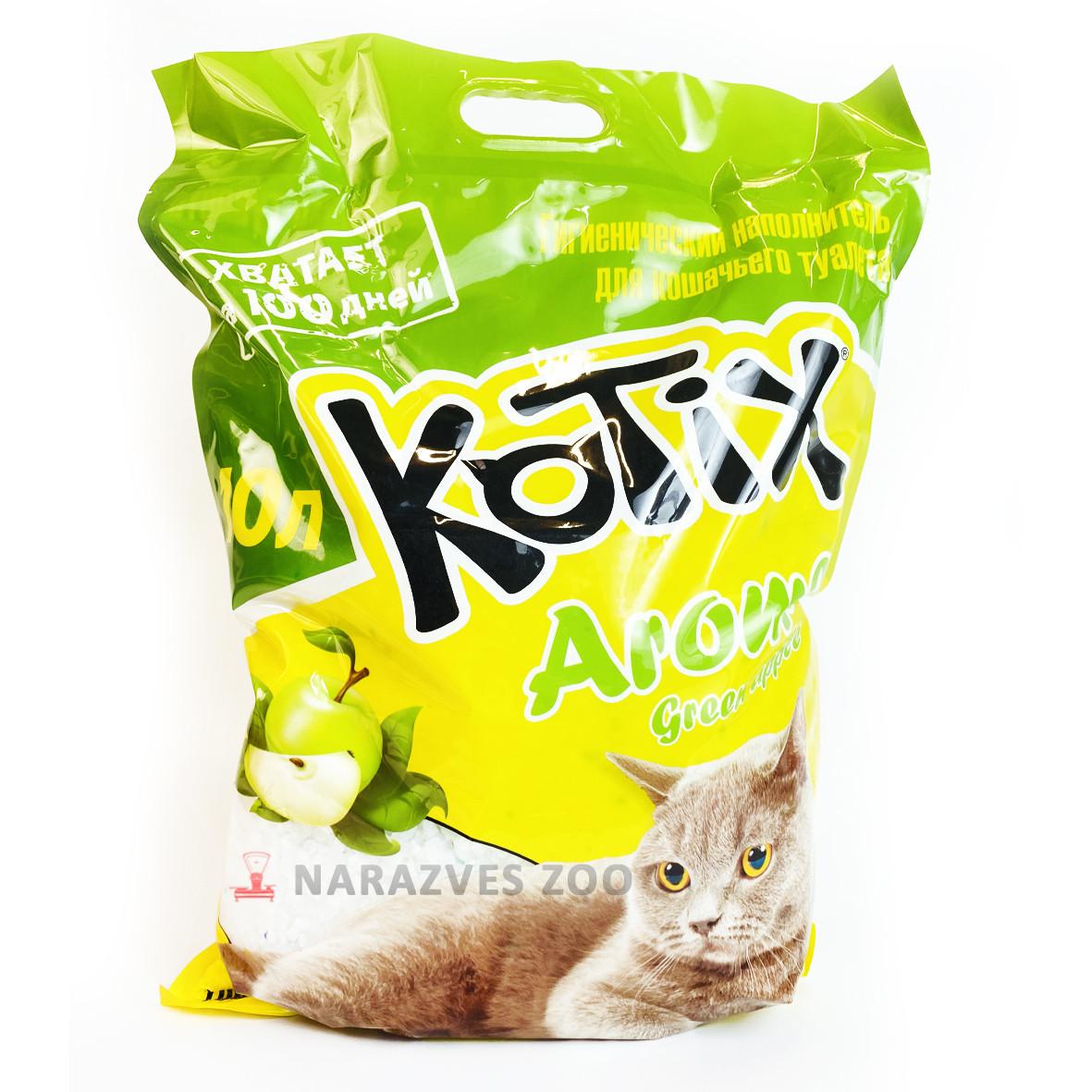 Kotix - силикагелевый наполнитель для кошачьего туалета 10л с зеленым яблоком