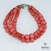 Розовый коралл, браслет 21 см