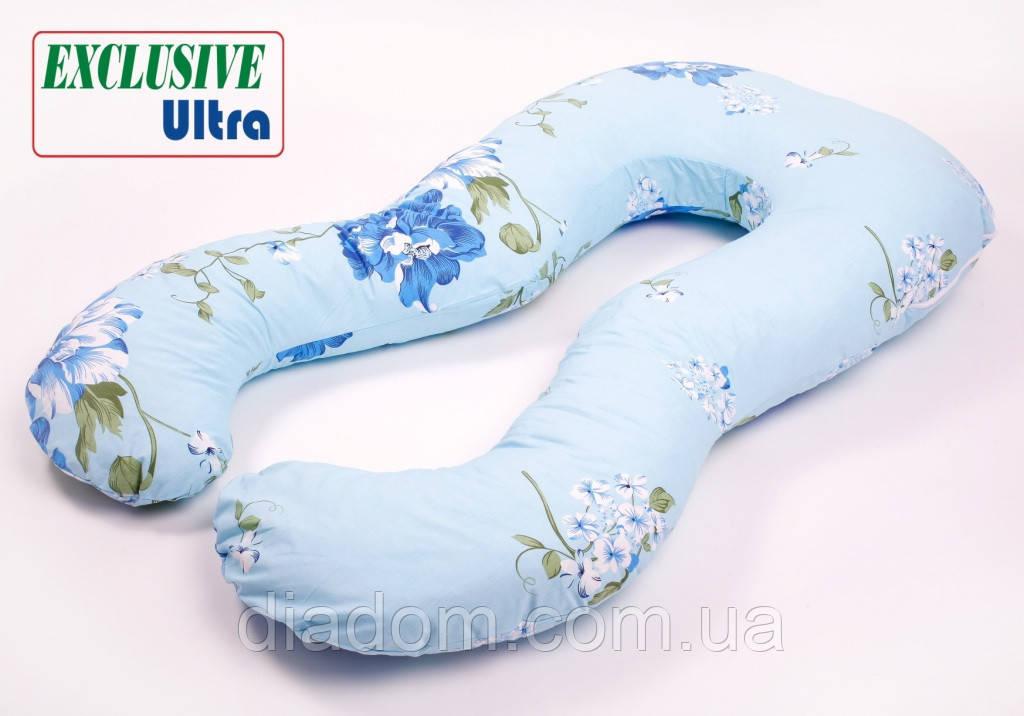 Подушка Для Беременных и Кормления Ultra Exclusive, В комплекте: наволочка - Голубая с цветами