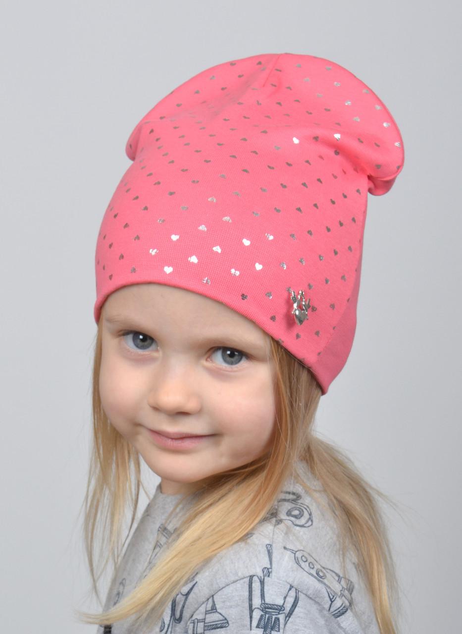 №223 Детская шапка Сердечки. Двойная шапка р.52-55. 4-8 лет. Коралл, т.малина