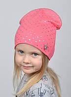 №223 Детская шапка Сердечки. Двойная шапка р.52-55. 4-8 лет. Коралл, т.малина, фото 1
