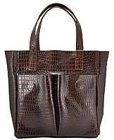 Женская кожаная сумка с карманами Crocodile коричневая