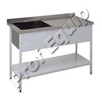 Ванна моечная односекционная со сварным разделочным столом из нержавеющей стали