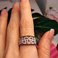 Серебряное кольцо с цирконием - Нежное женское серебряное кольцо с черно-белыми фианитами, фото 5