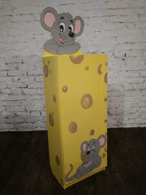Детский шкаф-пенал с 3-мя полками и дверцей Мышки в сире (395.01)