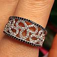 Серебряное кольцо с цирконием - Нежное женское серебряное кольцо с черно-белыми фианитами, фото 4