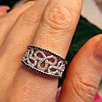 Серебряное кольцо с цирконием - Нежное женское серебряное кольцо с черно-белыми фианитами, фото 3