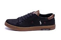 Мужские кожаные кеды Polo Black and Olive (реплика), фото 1