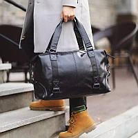 Дорожная сумка из кожзама Городская сумка-саквояж Большая дорожная сумка для командировок
