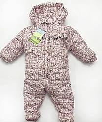 Детский комбинезон на весну осень для новорожденных младенцев Розовый Размеры 62 68
