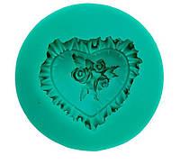 Форма-молд силиконовый Розочка в сердце | Ø 55 мм|