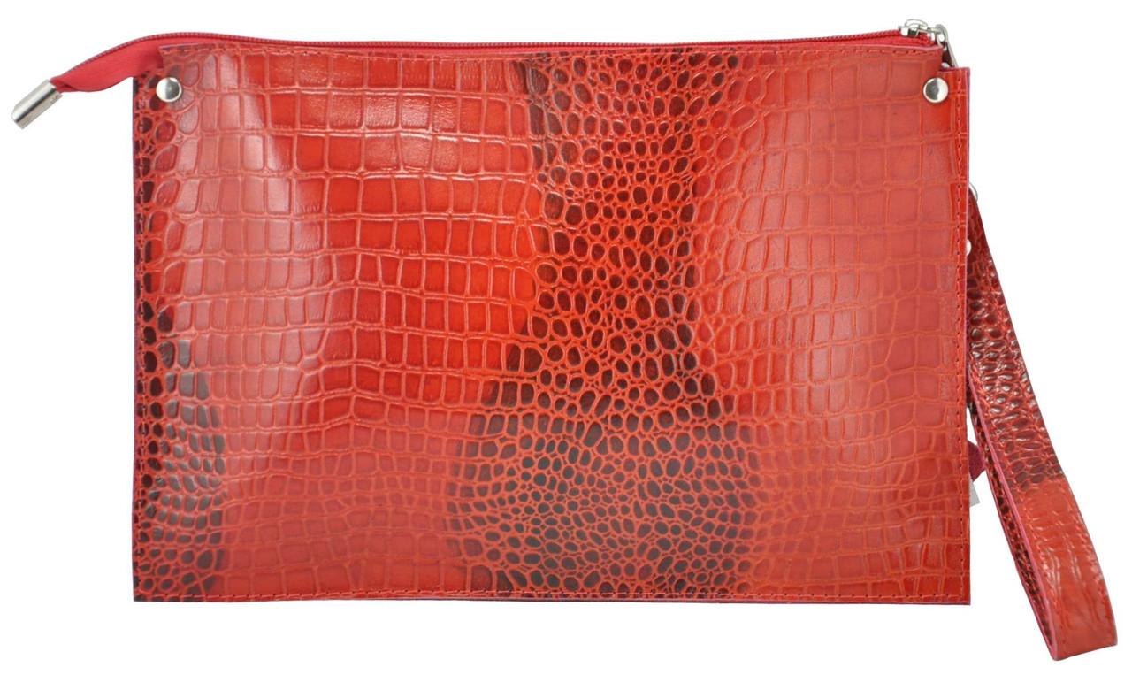 Женский кожаный клатч конверт Crocodile красный