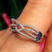 Женское серебряное кольцо с цирконием - Родированное серебряное кольцо переплеты, фото 3