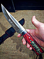Охотничий нож Columbia  с чехлом, рукоять дерево с паракордом