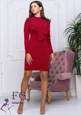 Червоне ошатне плаття футляр під горло до колін з рюшами на грудях, фото 2