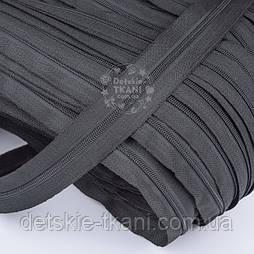 Блискавка рулонна графітового кольору, Т3 (метражем)