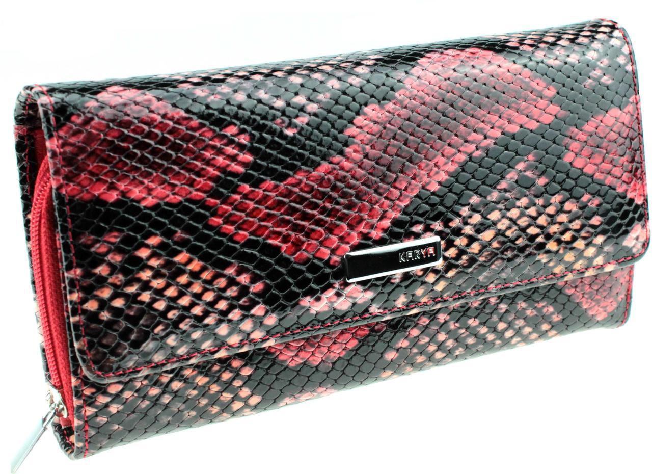 """Жіночий гаманець Karya 1151-062 шкіряний різнобарвний """"під рептилію"""""""