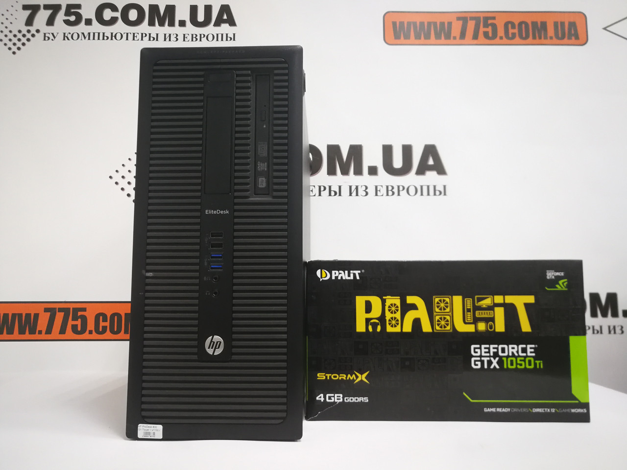 Компьютер HP 800 G1 (Tower), Intel Core i5-4570 3.6GHz, RAM 8ГБ, SSD 120GB + HDD 500ГБ, GeForce GTX 1050Ti 4ГБ