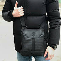 Мужской месенджер в стиле PUMA FERRARI Slim черный, сумка через плечо Пума (реплика), планшет