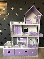 Кукольный домик + комплект мебели + текстиль