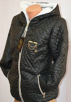 Теплая  куртка на молнии с капюшоном и карманами 4001