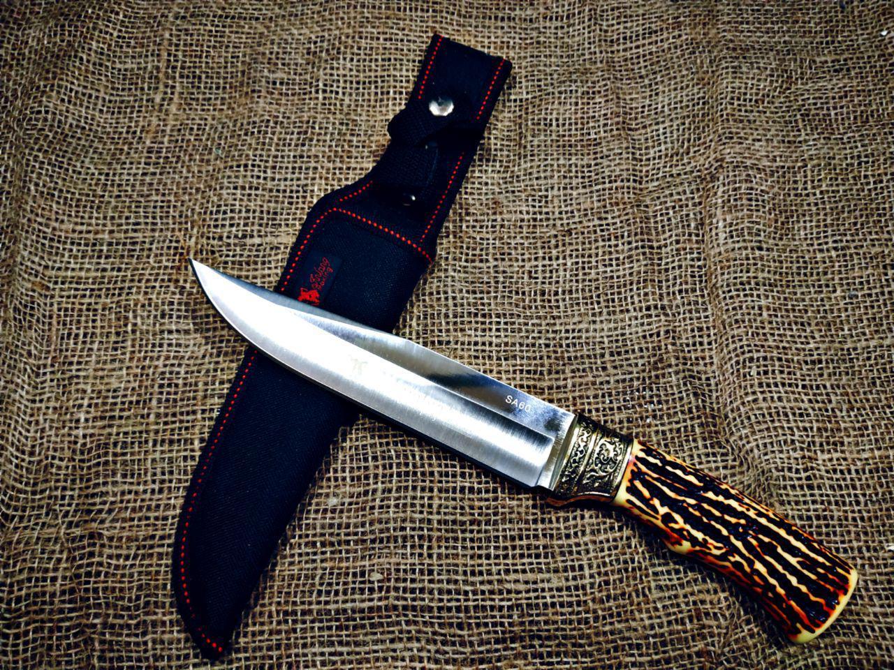 Мисливський ніж Columbia , з чохлом, рукоять полімер під кістка