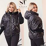 Женская демисезонная куртка Рука 3-4 Плащевка лаке на синтепоне Размер 50 52 54 56 58 60 Разные цвета, фото 8