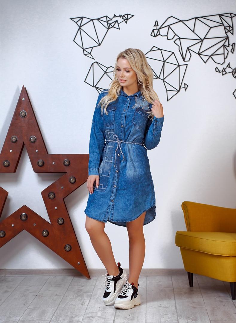 Стильное женское джинсовое платье, отделка-камнии от42-до50р.