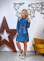 Стильное женское джинсовое платье, отделка-камнии от42-до50р., фото 1