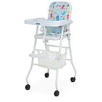 Яркий бюджетный стульчик для кормления Bambi М 0397-4 Морские животные на колесиках