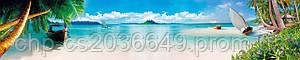 Стеклянный фартук для кухни - скинали Пальмы Пляж Море Лодка