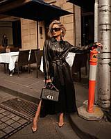 Стильный кожаный плащ платье, фото 1